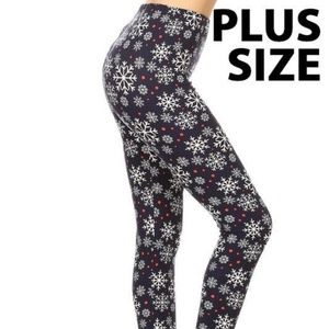 Pants - Snowflake plus size buttery soft leggings